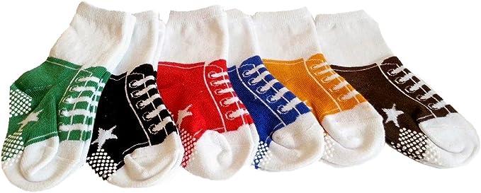 CUTE 6 PACK OF BABY BOYS GIRLS BASEBALL ANTI SLIP GRIPS SOCKS AGE 12-18 MONTHS