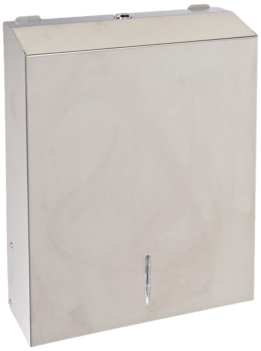 Genuine Joe GJO02198 Stainless Steel C Fold/Multifold Hand Towel Dispenser, 15-1/2'' Length x 4'' Width x 11.3'' Height, Silver