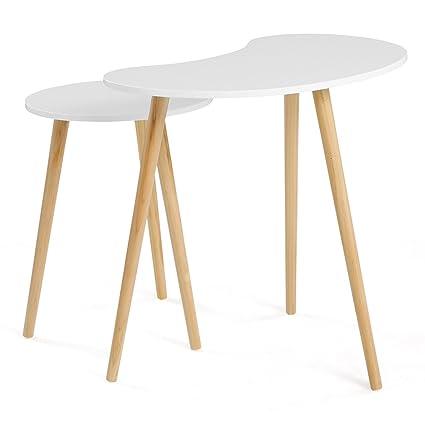 Tavolini In Legno Da Salotto.Songmics Let06wn Set Di 2 Tavolini Rotondi Da Salotto In Legno