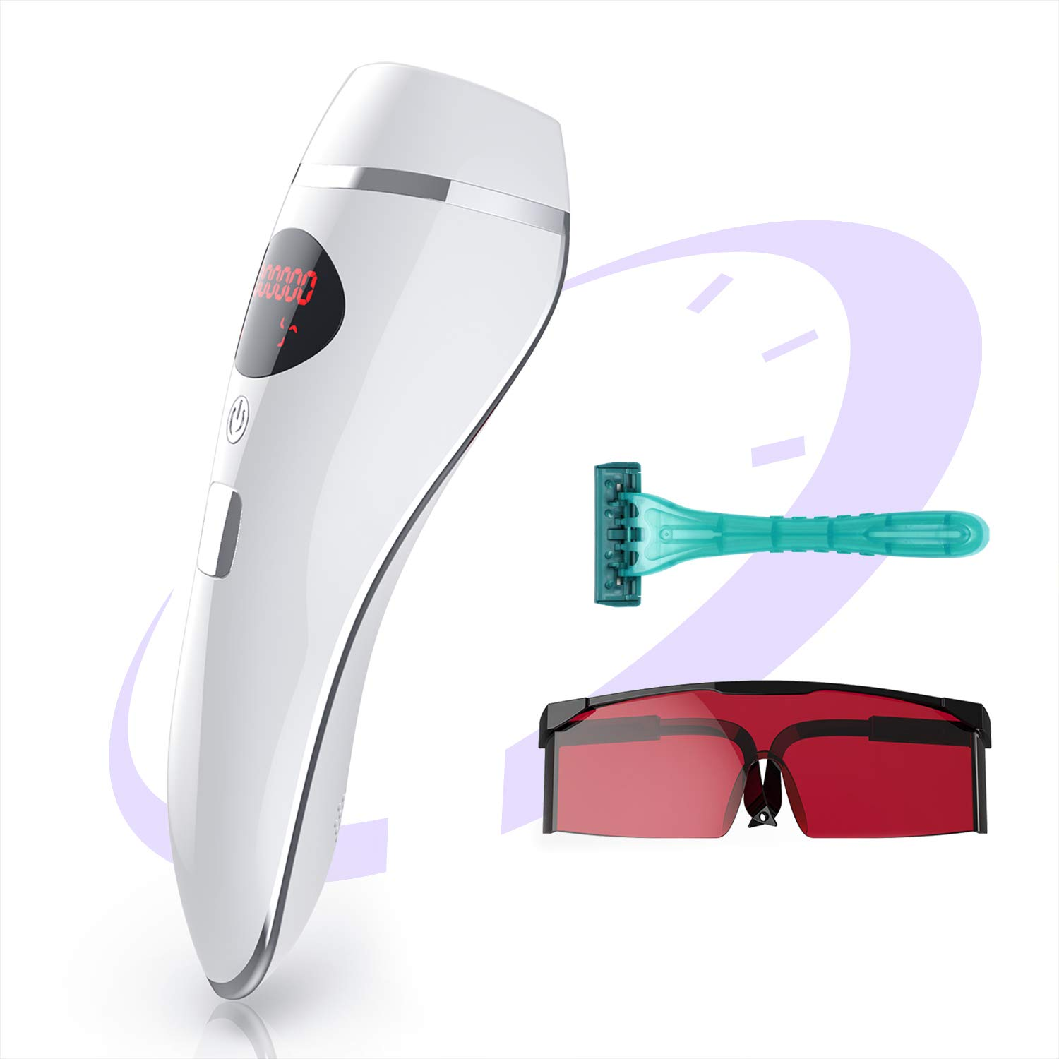 IPL Hair Removal System for Women & Men Permanent Painless 600,000 Flashes Body Facial Profesional Device Hair Remover Treatment Wholebody Home Use (White-Rose)