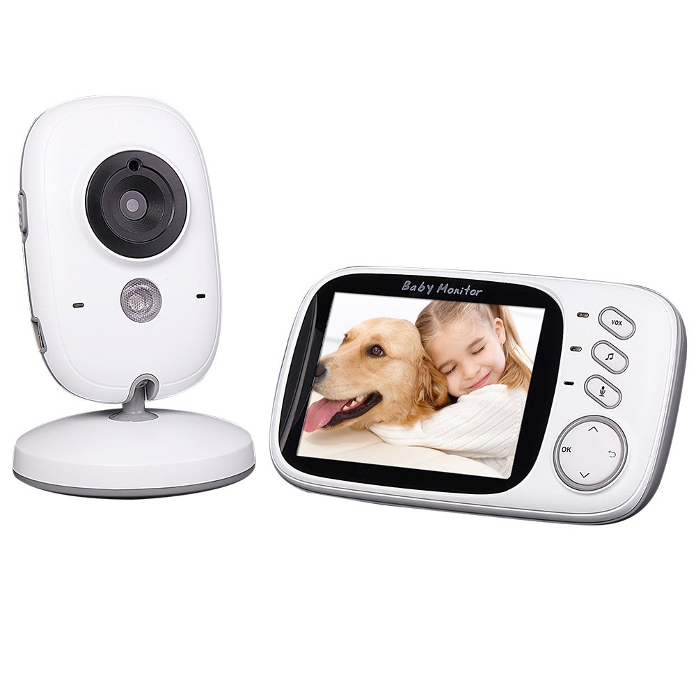 Walmeck Video Baby Monitors Camera, 3.2in 2.4GHz Wireless Monitor Support 2-way Talk IR Night View Temperature Music for Home Surveillance CCTV Security