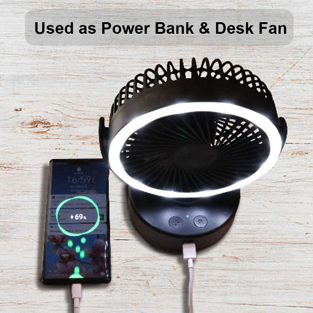 Portable Camping Lantern with Tent Fan Battery Operated Camping Fan with Hanging Hook USB Mini Desk Fan with Power Bank Phone Charger for Camping Tent Car Emergency Outages Storm Baby Stroller