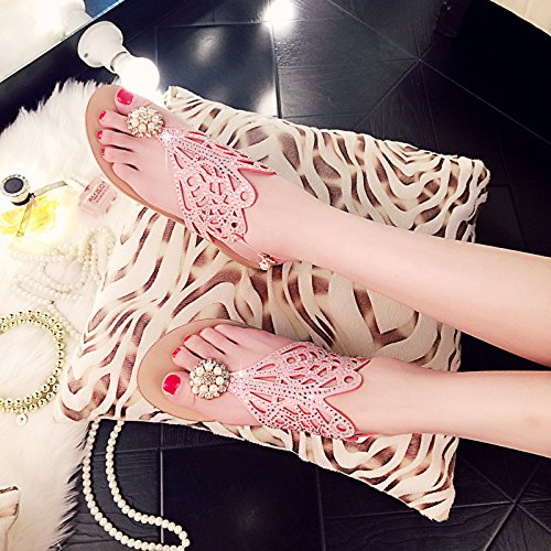 Women's Clip Toe Sandals Rhinestone Flat Flip Flops Summer Beach Post Sandals Pink O5j4CQti4