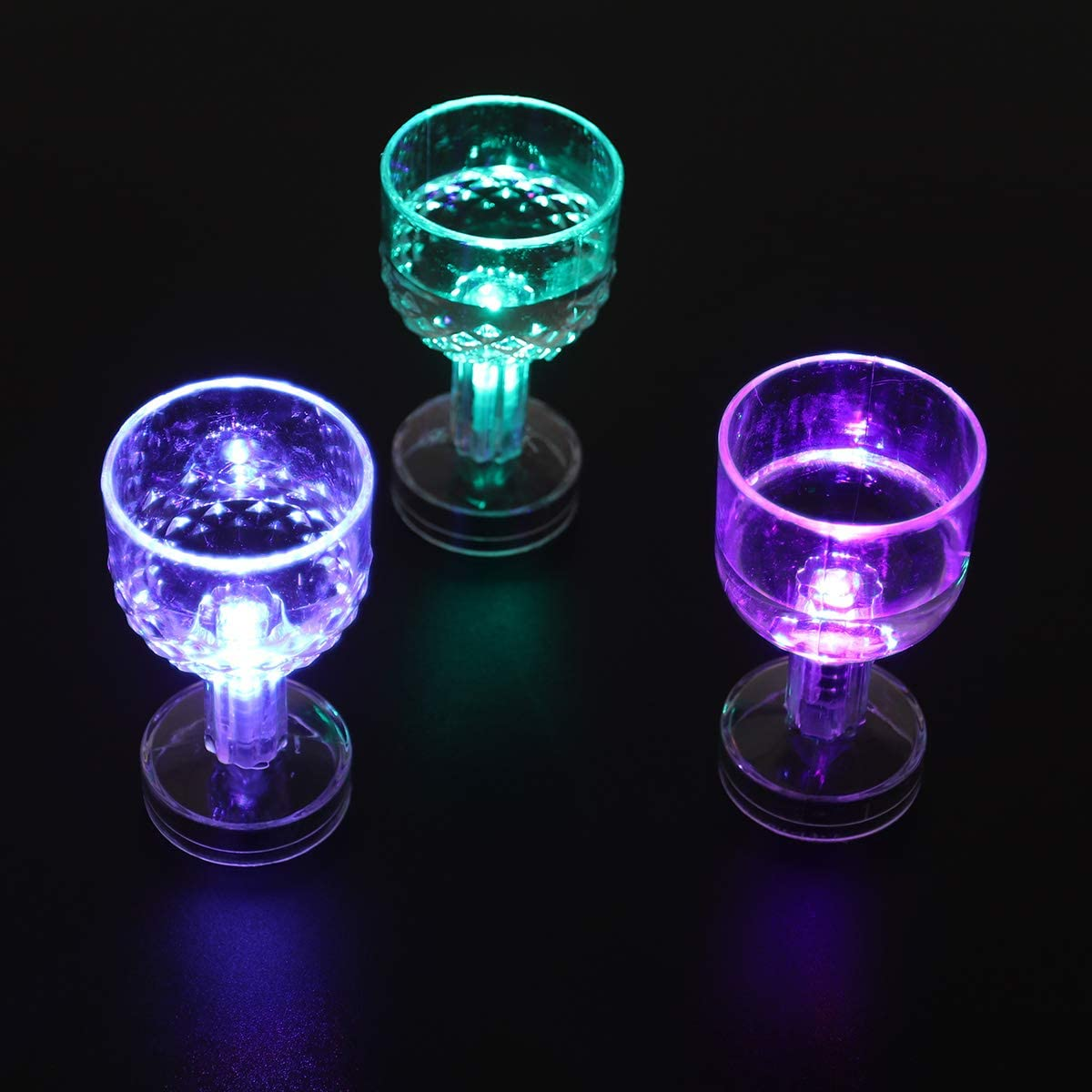 STOBOK Light Up Drink Cups Transparent Wine Cup Colorful Flash Cup Plastic Dancing Party Bar Supplies with Battery 12pcs