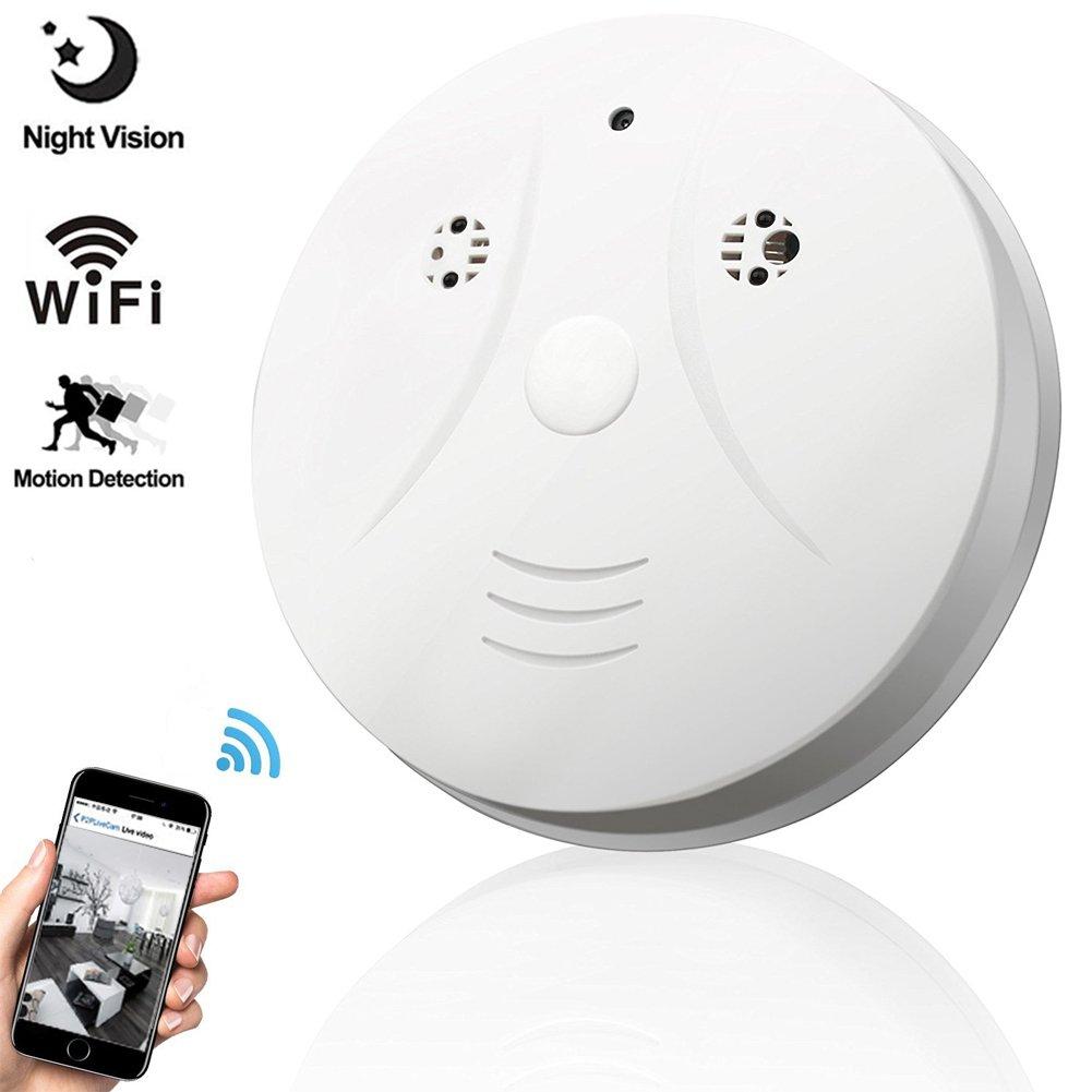 Night Vision Hidden Spy Camera, QUANDU WiFi Smoke Detector Hidden Camera  DVR Mini Nanny Cam with Motion Detection for Home Security Surveillance  Apps