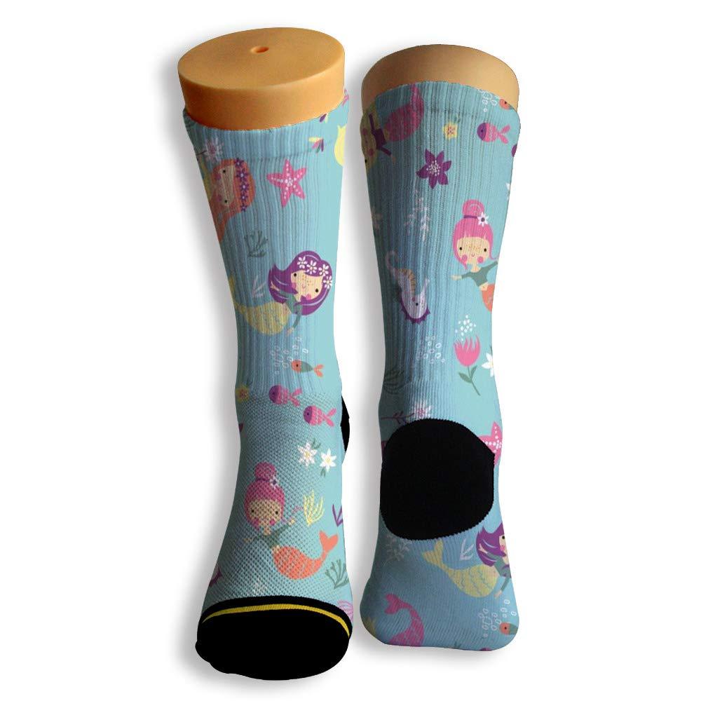 Basketball Soccer Baseball Socks by Potooy Mermaid Design 3D Print Cushion Athletic Crew Socks for Men Women