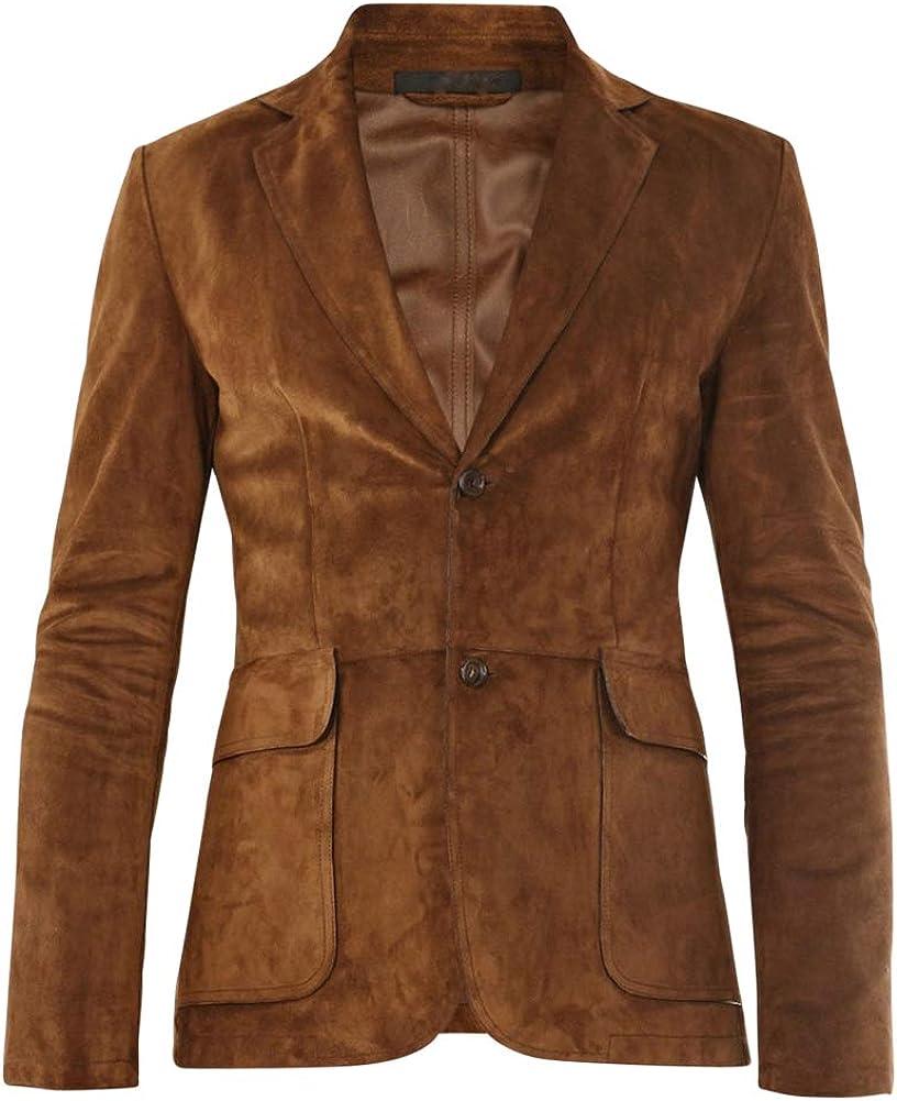 GENUINE LEATHER JACKET Custom Tailor Made Suede Lambskin Casual Blazer