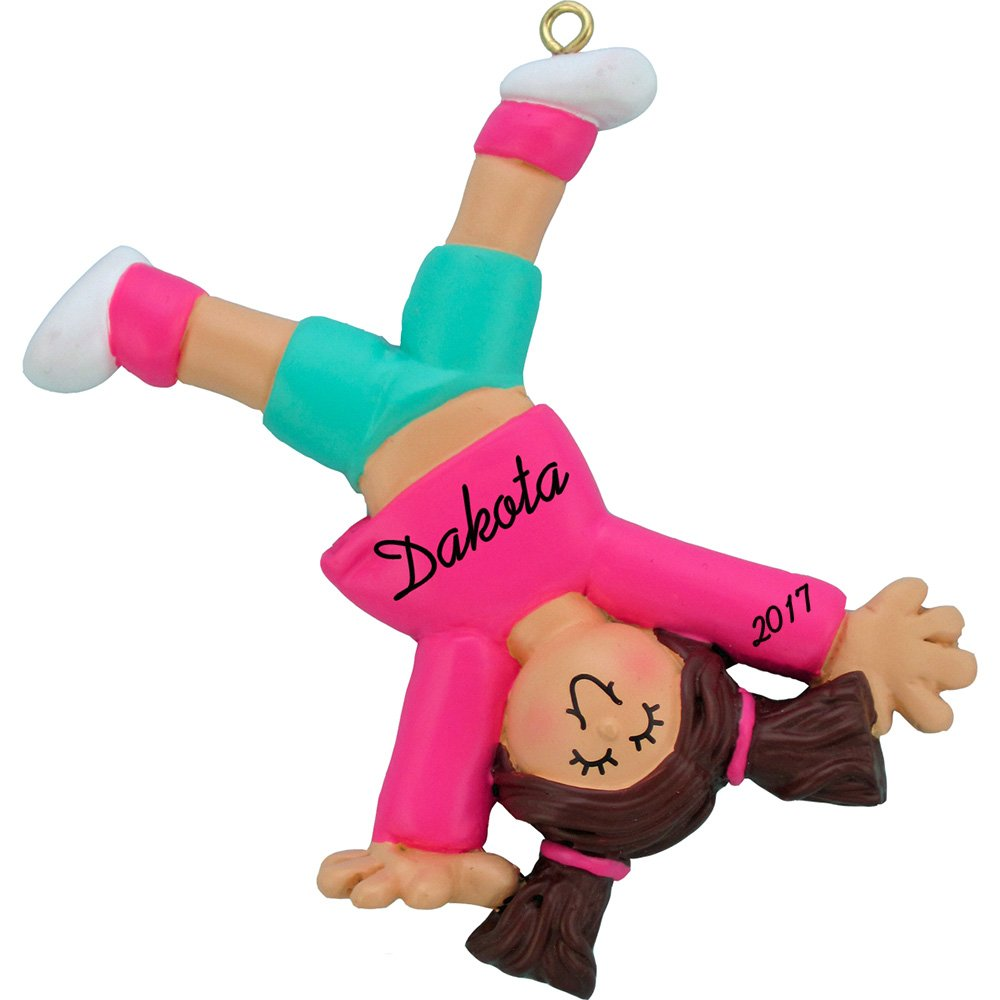 Tumbling Cartwheel Personalized Christmas Ornament - Girl - Brown Hair - Handpainted Resin - 3.5