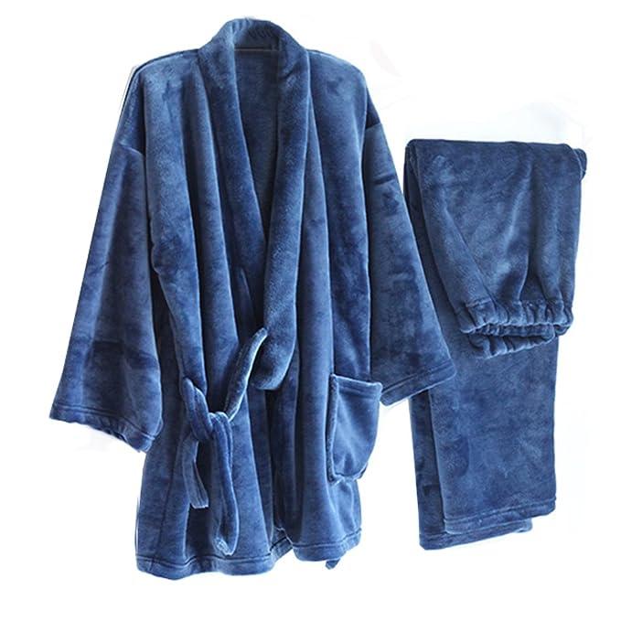 Fancy Pumpkin Espesar la bata de Kimono de franela de los hombres Kimono traje de pijamas