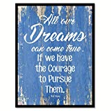 """SpotColorArt All Our Dreams Can Come True Framed Canvas Art 7"""" x 9"""" Blue"""