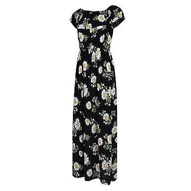 c5cfa577455 Homyl Femmes Bohème Longue Maxi Robe de Plage Sans Bretelles Robes Bustier  Été Floral Imprimé sans