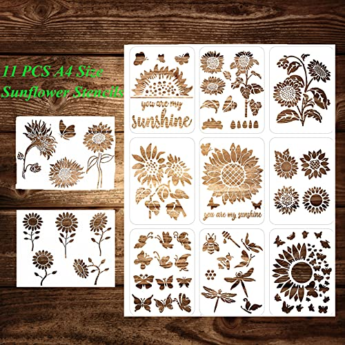 Sunflower Stencil, 11 Pcs A4 Size Reusable Butterfly Sun Flower Stencils for Painting on Wood Canvas Bee Dragonfly Stencil Kit for Drawing on Walls DIY Mylar Template, 8.4 x 11 inch.
