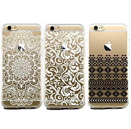 iPhone 6 Case Bundle Pack - iPhone 6 Floral Cases Covers Featuring Mandala Henna Tribal Aztec Floral Design. [3 CASE iPHONE 6 BUNDLE PACK]. Great Combo pack for Girls Teens. Lifetime Guarantee. [Fits 4.7