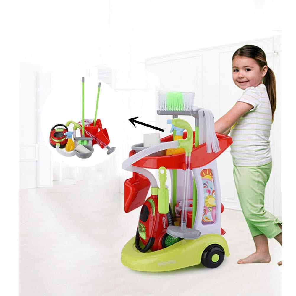 WDXIN Juego de Juguetes de Limpieza para niños Mini Carro de Limpieza Niño niña Juguete de Limpieza de educación temprana