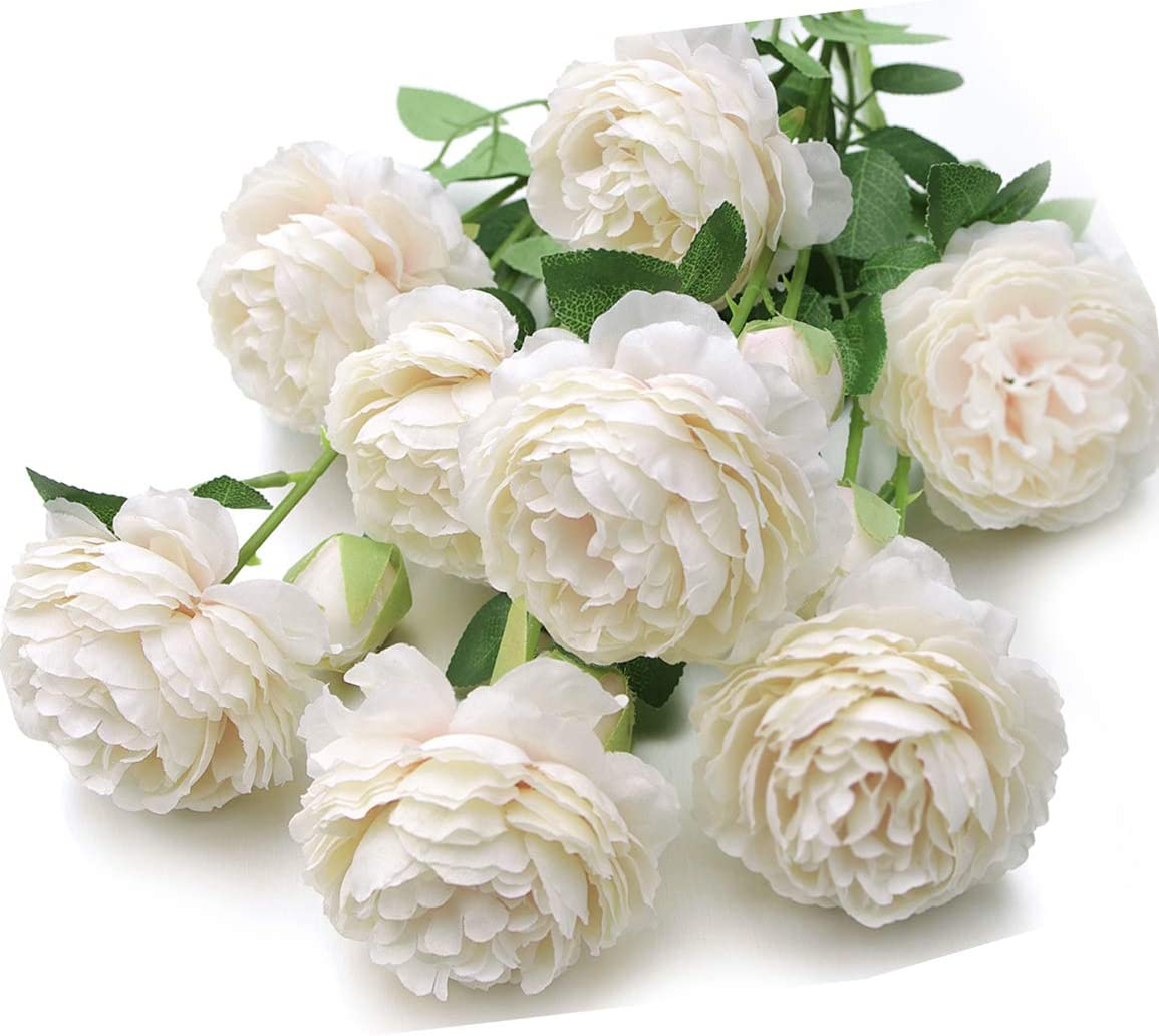 MaxFlowery Mixed Blooms & Buds Silk Cabbage Rose Stems in Ivory White, Faux Flower Greenery for Wedding Home Decor, 4 Pack