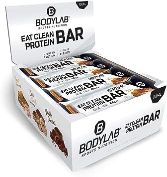 Barrita Eat Clean de Bodylab24 12 x 65 g | Barrita de proteína baja en azúcar con fibra | 20 g de proteína/barrita | Deliciosa barrita para muscular, ...