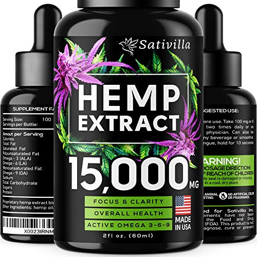 Hemp Oil Drops 15000 MG - Made in USA - Vegan Premium Hemp Extract - Optimal Absorption & BIOAvailability - Anti Anxiety, Pain & Stress Relief - Natural Hemp Oil for Sleep & Mood Support - Omega 3 6 9