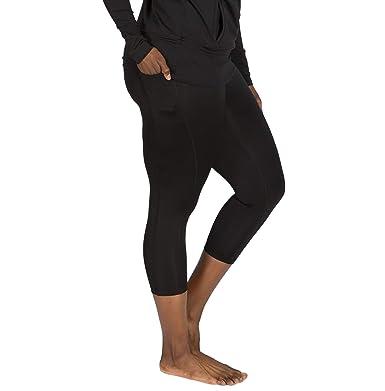 ffb644263de9d Plus Size Leggings for Women Black - 1X - Full Figure Stretch Workout Capri  Leggings -