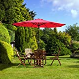 Cheap 9Ft 9′ Outdoor Patio Furniture Umbrella Red Polyester 8 Ribs Construction 7 2/3-foot Height Tilt Adjustable AL Pole w/ C