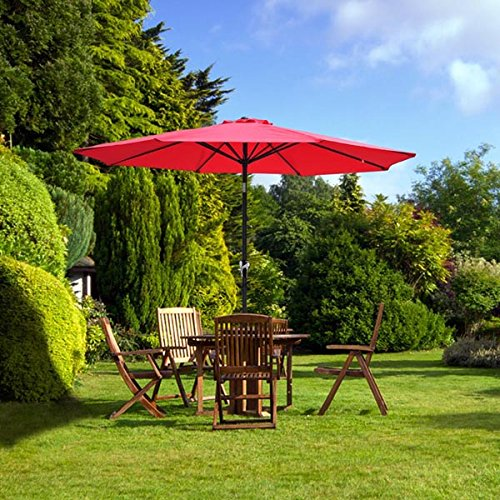 9Ft 9' Outdoor Patio Furniture Umbrella Red Polyester 8 Ribs Construction 7 2/3-foot Height Tilt Adjustable AL Pole w/ C