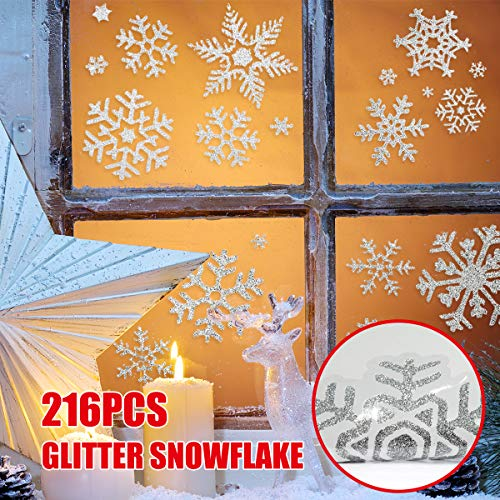 216 pcs Glitter Snowflake Window Clings Static Decal Vinyl Wall Stickers for Christmas Window Decorations,Xmas Ornaments,Winter Wonderland,Holiday,Shop,Home Décor Reusable Assorted Designs 12 Sheets]()