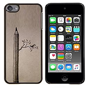 LECELL--Funda protectora / Cubierta / Piel For Apple iPod Touch 6 6th Touch6 -- Dibujo Aves Significado Arte Profundo --