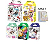 Fujifilm Instax Mini Film 5 Pack Bundle! Hello Kitty, Rilakkuma, Rainbow, Airmail, Stripe 10 X 5 = 50 Sheets Assort Set with Colorful Film Decor Sticker!