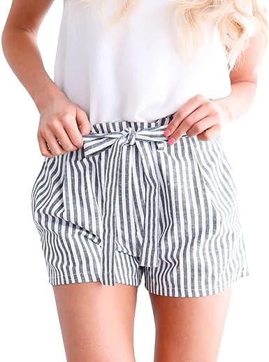 FAMILIZO Pantalones Cortos Mujer B/ásicos Gimnasio Pantalones Cortos Mujer Verano Deporte Suelto Cintura Alta Short Yoga Pantalones Calientes High Waist Rayas