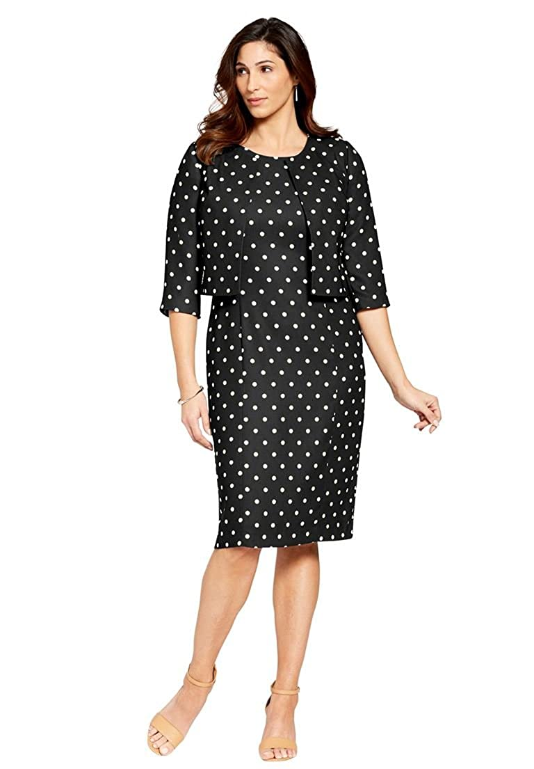Jessica London Women's Plus Size Printed Jacket Dress