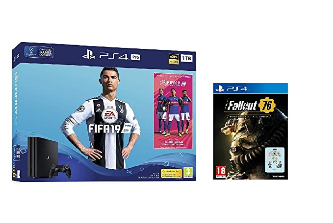 Sony PlayStation 4 Pro 1TB FIFA19 Bundle + Fallout 76: S.*.*.C.*.*.L. Edition (Game + 3 Pin Badges)