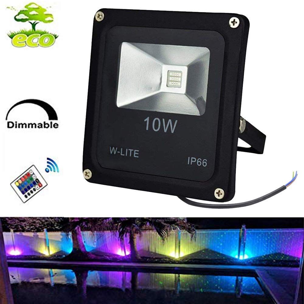 10W RGB LED Flood Lights, Dimmable Wall Washer Light, Colour Changing Security Light, 16 Colours 4 Modes, Waterproof LED Remote Control Floodlight, No Plug[Energy Class A+] W-LITE