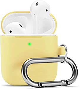 Camyse Airpods Case, Airpod Silicone Skin Cases Cover, Full Protective Durable Shockproof Drop Proof with Keychain Compatible with Apple Airpods 2 & 1 Charging Case ,Airpods Accesssories (Yellow)