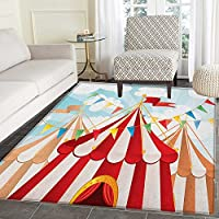 Circus Area Rug Carpet Circus Stripes Sunshines Through Cloudy Sky Traditional Performing Arts Theme Living Dining Room Bedroom Hallway Office Carpet 5x6 Blue White Red