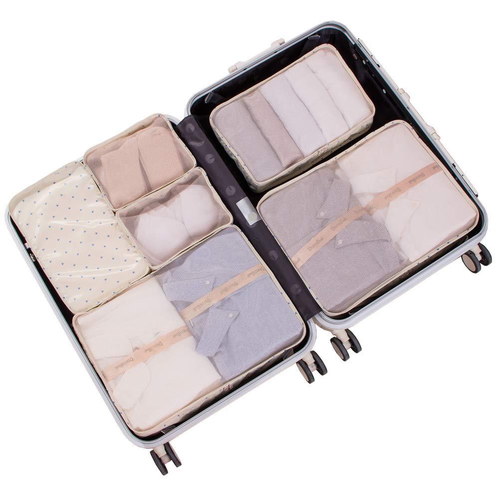 JJ POWER Travel Packing Cubes 6 Set with Bonus Shoe Bag (Cream Anchor)