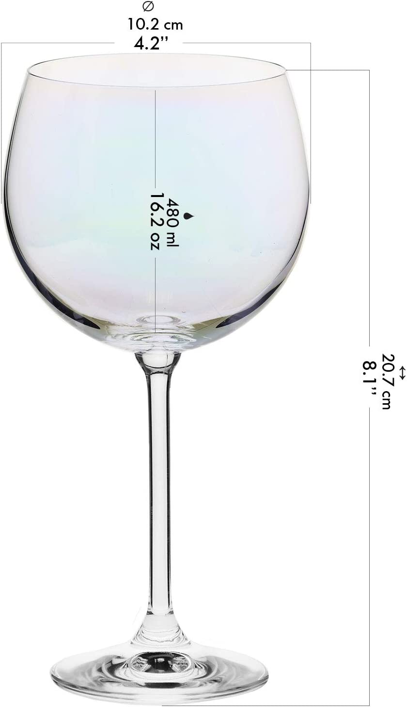 Venezia Collection Krosno Rainbow-Pearl Iridescent Cocktail Gin Tonic Balloon Water Glasses Ideal for Home Restaurant Set of 6 Pieces Events /& Parties 480 ml