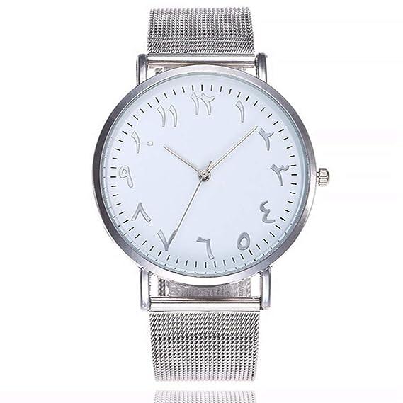 ... De Malla De Plata De Acero Inoxidable Relojes con Números Únicos Relojes De Pulsera De Cuarzo De Mujer, Hombres Ocasionales, Blancos: Amazon.es: Relojes