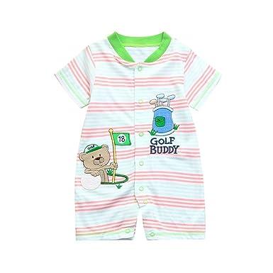 62e6e75a8 Amazon.com  WARMSHOP Creeper Onesies Boys and Girls Cartoon Striped ...