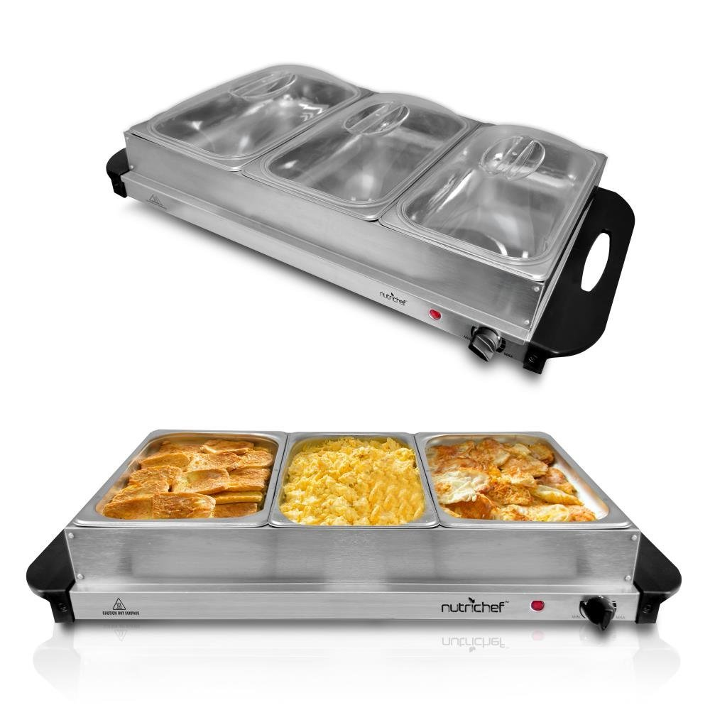 NutriChef 3 Buffet Warmer Server - Professional Hot Plate Food Warmer Station , Easy Clean Stainless Steel , Portable & Great for Parties Holiday & Events - Max Temp 175F (Renewed) by NutriChef (Image #2)