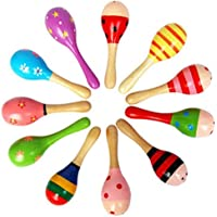 KESYOO 10Pcs Wooden Mini Maracas Kids Rattle Vocal Music Toy Noisemaker Educational Toy Musical Percussion Instrument…