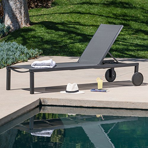 (Hanover WINDCHS-G-Gry Windham Adjustable Chaise Sling and Gray Frame Outdoor Furniture)