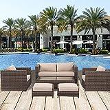 Cheap Florida 6 Pieces Outdoor Patio Wicker Sofa Conversation Furniture Set, Toffee