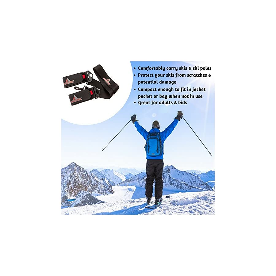 Athletrek Ski and Pole Carrier Strap with Durable Cushioned Hook and Loop to Protect Skis from Scratches, Bonus Ski Boot Carrier, Perfect Ski Snow Gear Accessory, Use Over Shoulder to Free up Hands
