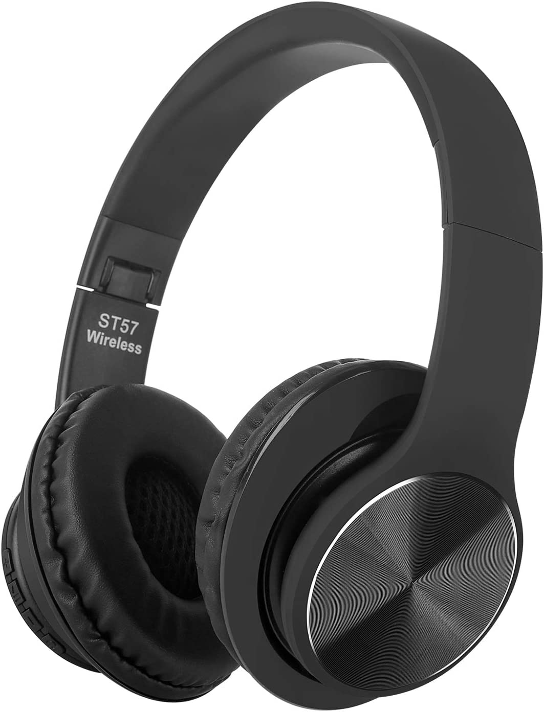 ST-57 Active Noise Cancelling Headphones Bluetooth Headphones with Microphone Deep Bass Wireless Headphones Over Ear, Comfortable Protein Earpads, for Workout iPhone,iPad,Samsung, Siri, Black