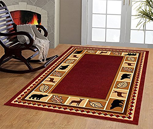 Furnishmyplace Wildlife Bear Moose Rustic Lodge Cabin Lodge Carpet Area Rug, burgundy 8'x11' (Rooms Style Cabin)