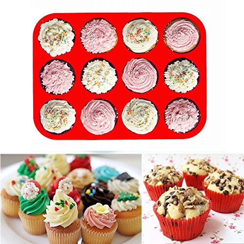 12-Cup Silicone Muffin Pans Set of 3, Silicone Cupcake Baking Pans, Non-Stick Silicone Molds for Muffin Tins, Cakes. (Red, Orange, Blue) by WedFeir (Image #4)