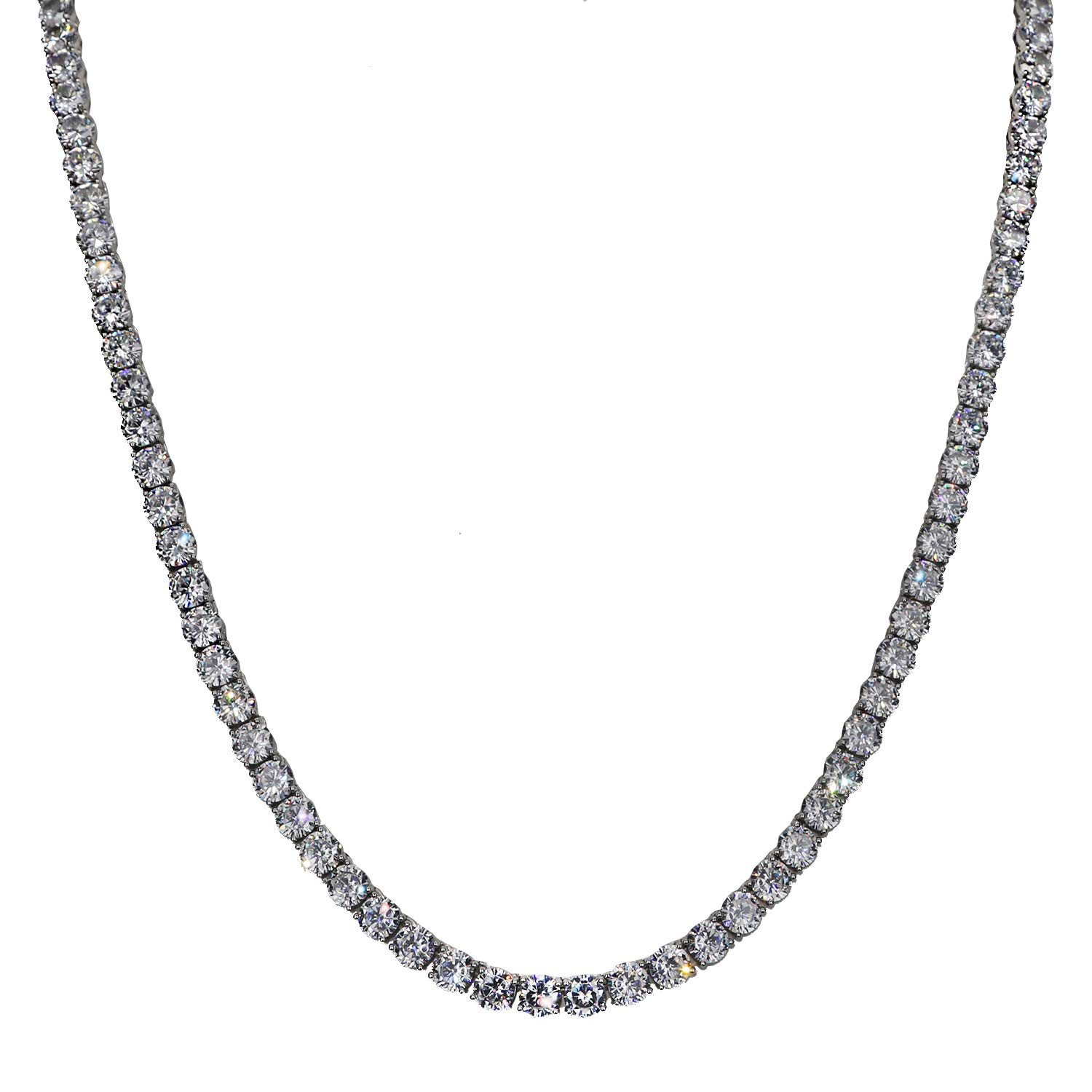 Harlembling Real Solid 925 Sterling Silver Iced Out Tennis Chain for Men 16''-30'' 7mm ICY CZ Hip Hop Rapper Style (30)