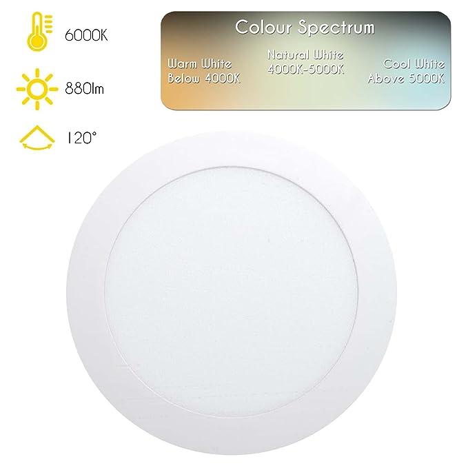 LEDUS UK - Panel lightlafoniera redonda a LED de eficiencia 9/12/18/25 W, luz cálida, alta calidad, Eco-friendly, para habitaciones o actividades ...