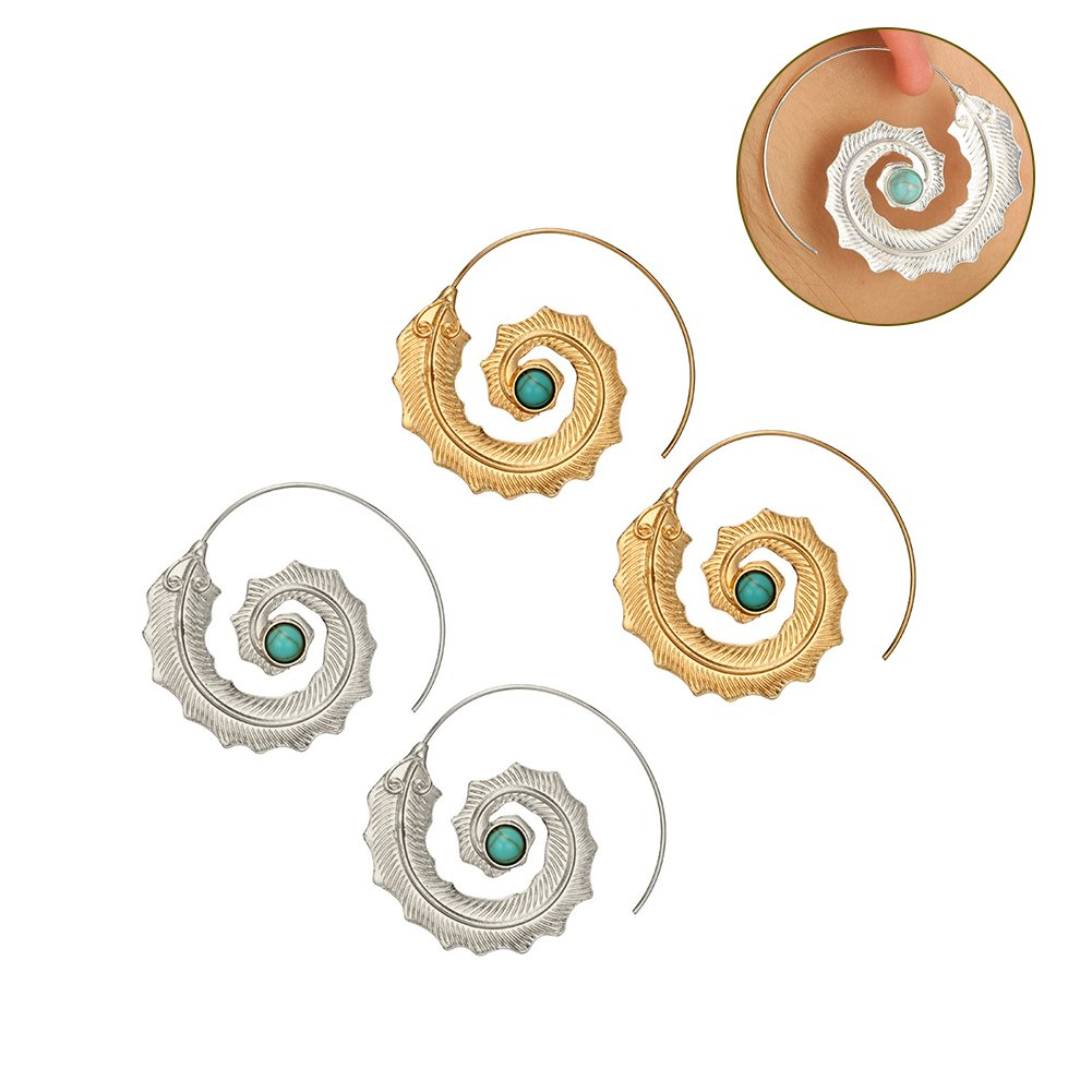 Creative Spiral Leaf Turquoise Ear Hoop Earrings Women Girl Party Jewelry Gift Potato001