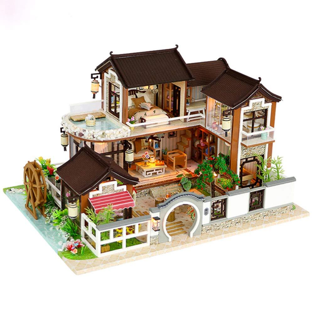 Fai da te in legno casa delle bambole in miniatura in miniatura Kit-villa modello e mobili Mini fatti a mano fai da te casa modello di opere d'arte e LED Light House miglior regalo di compleanno