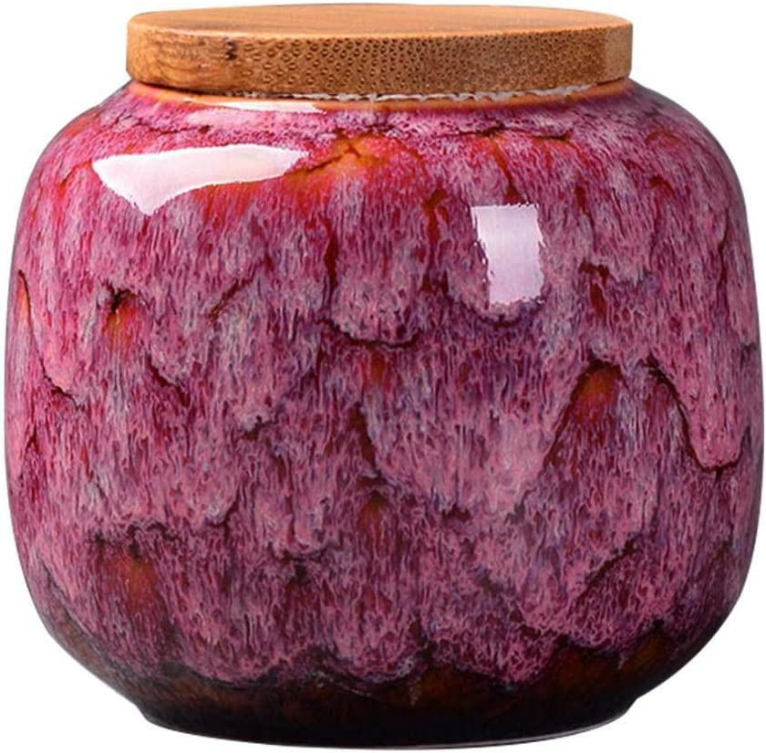 Food Storage Jar, Ceramic Kitchen Canisters with Airtight Seal Bamboo Lid, Food Storage Canister for Tea, Coffee Bean, Spice, 80x73mm (Rose wine)
